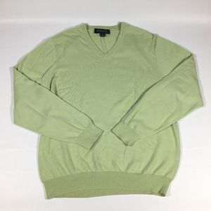 Brooks Brothers Green V Neck Cotton Sweater Sz Med